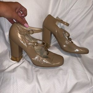 Chloe Beautiful Tan & Gold accent ankle strap Heel